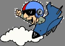 Pilota in picchiata con Jet e nuvola